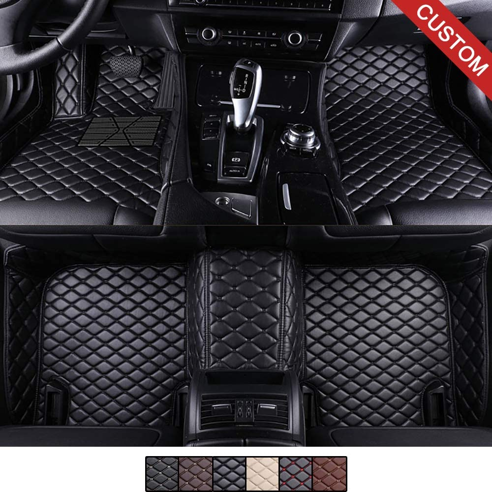Amazon Com Vevae Custom Car Floor Mats For Tesla Model S Models Laser Measured Faux Leather All Weather Full Coverage Waterproof Carpets Xpe Car Liner Black With Black Stitching Automotive