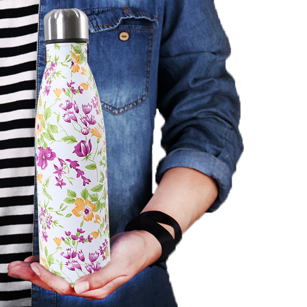 Double Walled Stainless Steel Vacuum Water Bottle, Y Chen Portable Travel Sports Leak-Proof No Sweat Cola Shape Bottle Keep You Drink Cold & Hot,17oz(500ml)Purple Flower