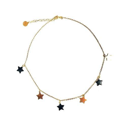 foto ufficiali 7e6d6 019a5 Collana girocollo stelle in argento placcato oro rosa ...