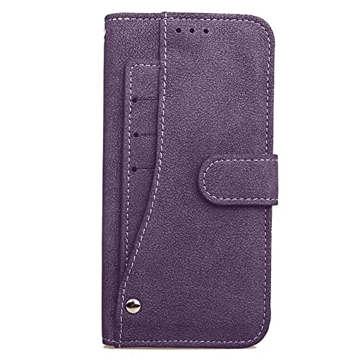 Cubix Flip Cover for Samsung Galaxy S7 Edge Slide Out Pouch Leather Wallet Case Protective Back Cover  Purple  Mobile Accessories