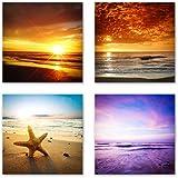Sonnenuntergang Set A schwebend, 4-teiliges Bilder-Set jedes Teil 29x29cm, Seidenmatte Optik auf Forex, moderne Optik, UV-stabil, wasserfest, Deko für Büro, Wohnzimmer, Urlaub und Meer