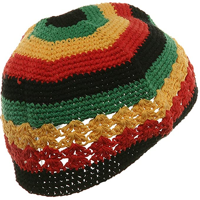 Hand Crocheted Beanie 02 Rasta At Amazon Mens Clothing Store
