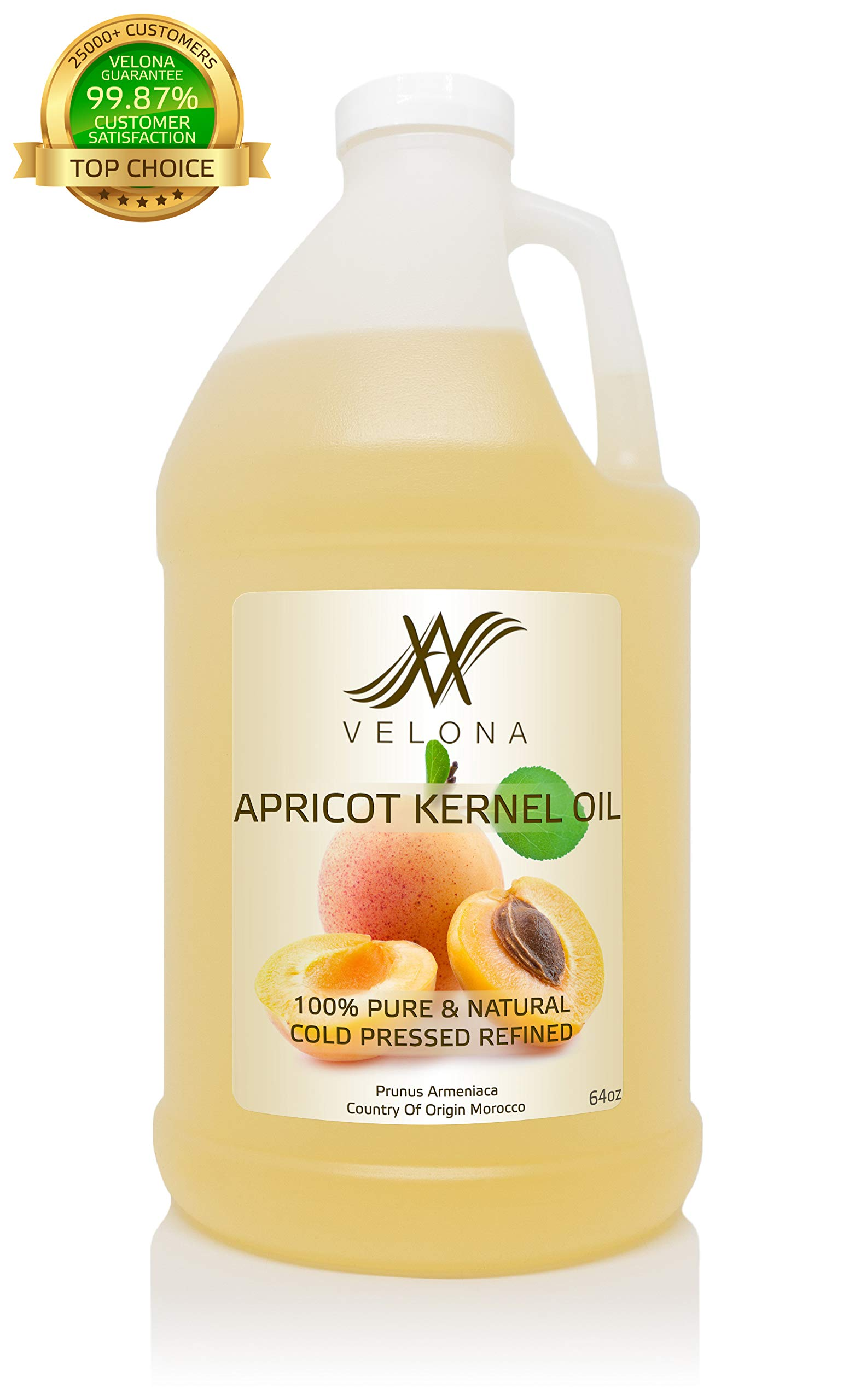 100% Organic Apricot Kernel Oil by Velona | All Natural Oil for Soap Making, Massage, Hair, Body, Skin & Face Care| Refined, Cold Pressed | Size: 64 oz by velona