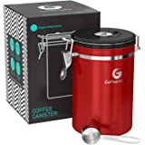 Coffee Gator Stainless Steel Container - Canister with co2 Valve and Scoop - Large, Red