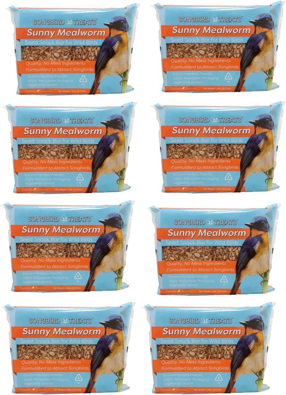 Songbird Treats Seed Bars | 8 Pack of 1.6 lb Bird Seed Cakes for Wild Birds (Sunny Mealworm)
