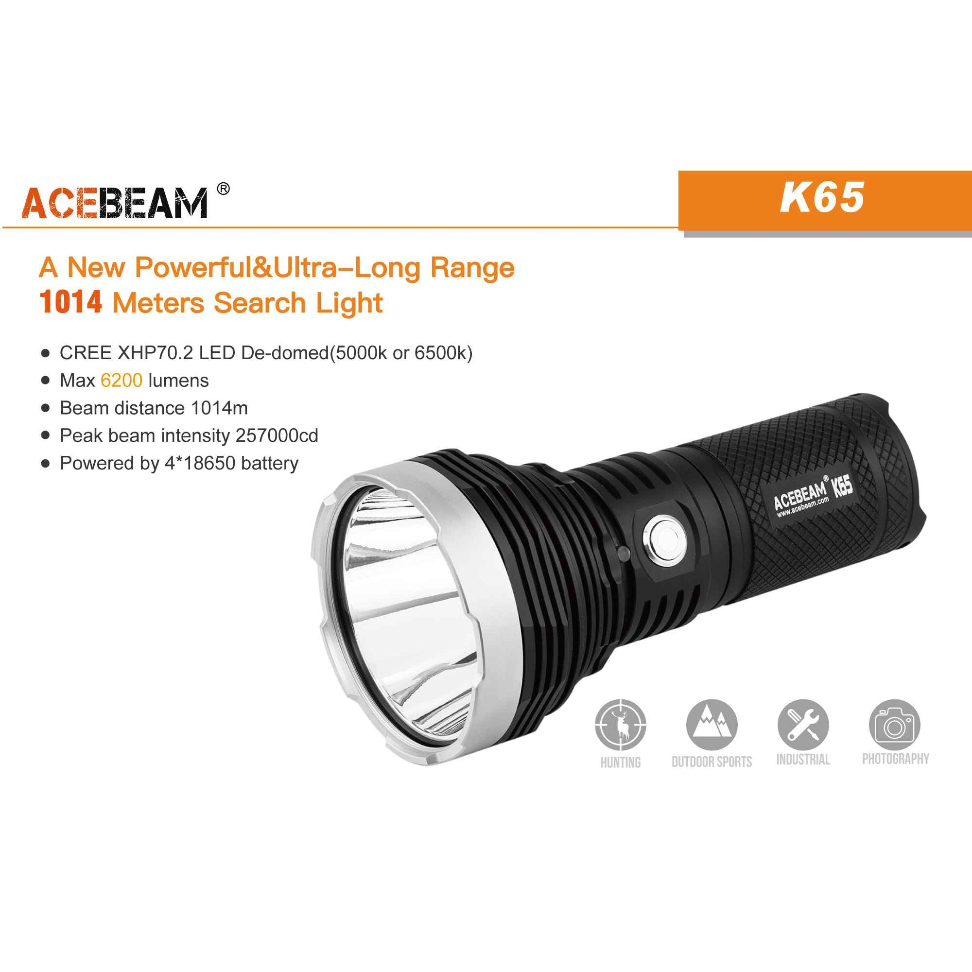 ACEBEAM K65 Flashlight CREE XHP70.2 De-Domed LED Searchlight with Max 6300 lumens Throw 1014M(6500K) by ACEBEAM (Image #1)