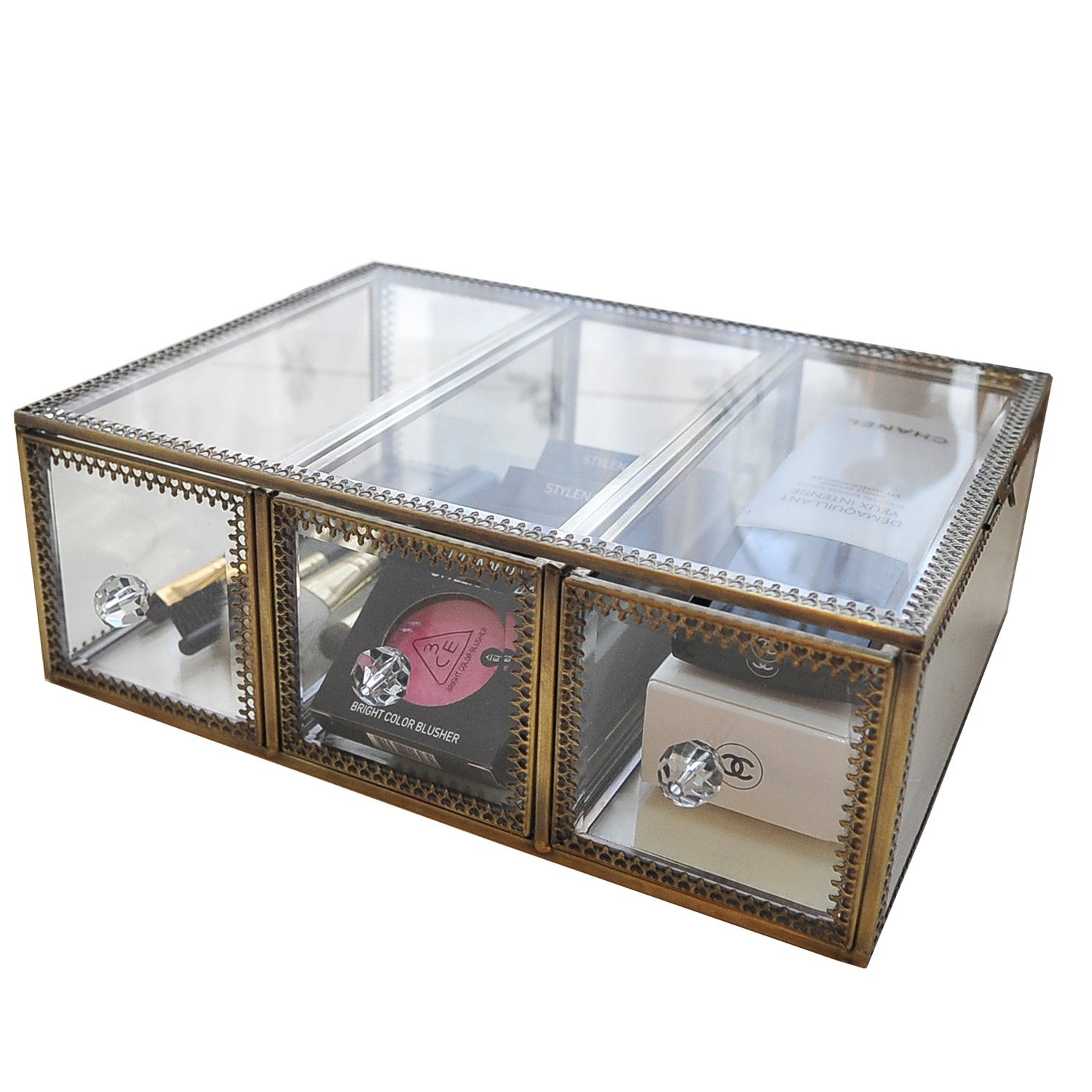 Home Décor Accents Display Clear Glass&Brass Metal Mirror Storage for Jewelry/Cosmetic/ Makeup/Organizer Drawers with Lid Non-Acrylic Individual Use Stackable Case DesignD