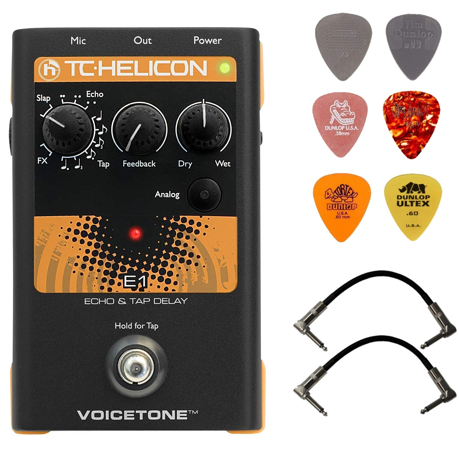 TC Electronic Singles VoiceTone E1 Echo Vocal Effects Processor Bundle with 2 Patch Cables and 6 Guitar Picks
