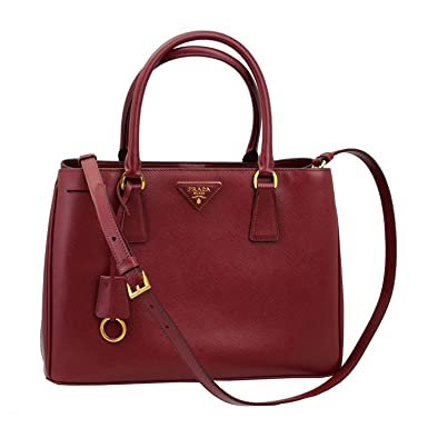 437919a0ffe9 Image Unavailable. Image not available for. Color: Prada Women's Red  Leather Tote Bag With Strap BN1874 Cerise