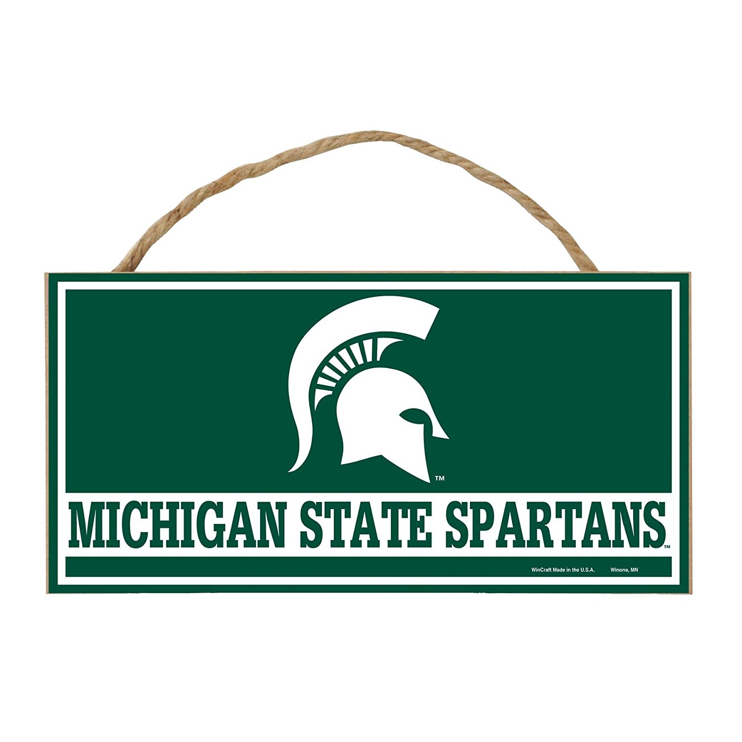 5 x 10-Inch WinCraft NCAA Michigan State Spartans Hardboard Wood Signs with Rope Multi