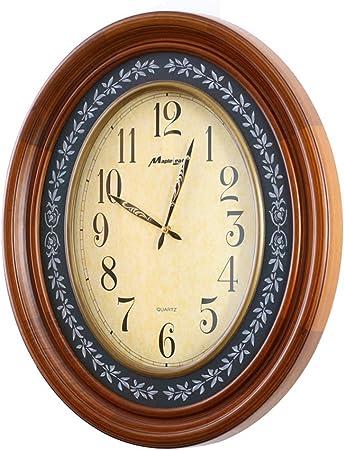 He Clock Européenne Grande Solide Bois Horloge Murale Mute