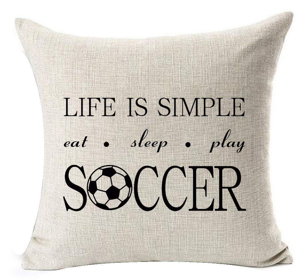 wonbye 18 x 18 Inches Cotton Linen Sports Series Funny Quotes Life Is Simple Eat Sleep Play Soccer Design Throw Pillow Case Cushion Cover Personalized Home Office Decorative Square,with Zipper