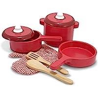 Melissa & Doug Set de accesorios de lujo de cocina de madera - ollas y sartenes (8 piezas)
