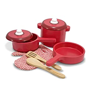 Melissa & Doug Deluxe Wooden Kitchen Accessory Set - Pots & Pans (8 pcs)