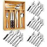 Teivio 24-Piece Silverware Set, Flatware Set Mirror Polished, Dishwasher Safe Service for 4, Include Knife/Fork/Spoon…