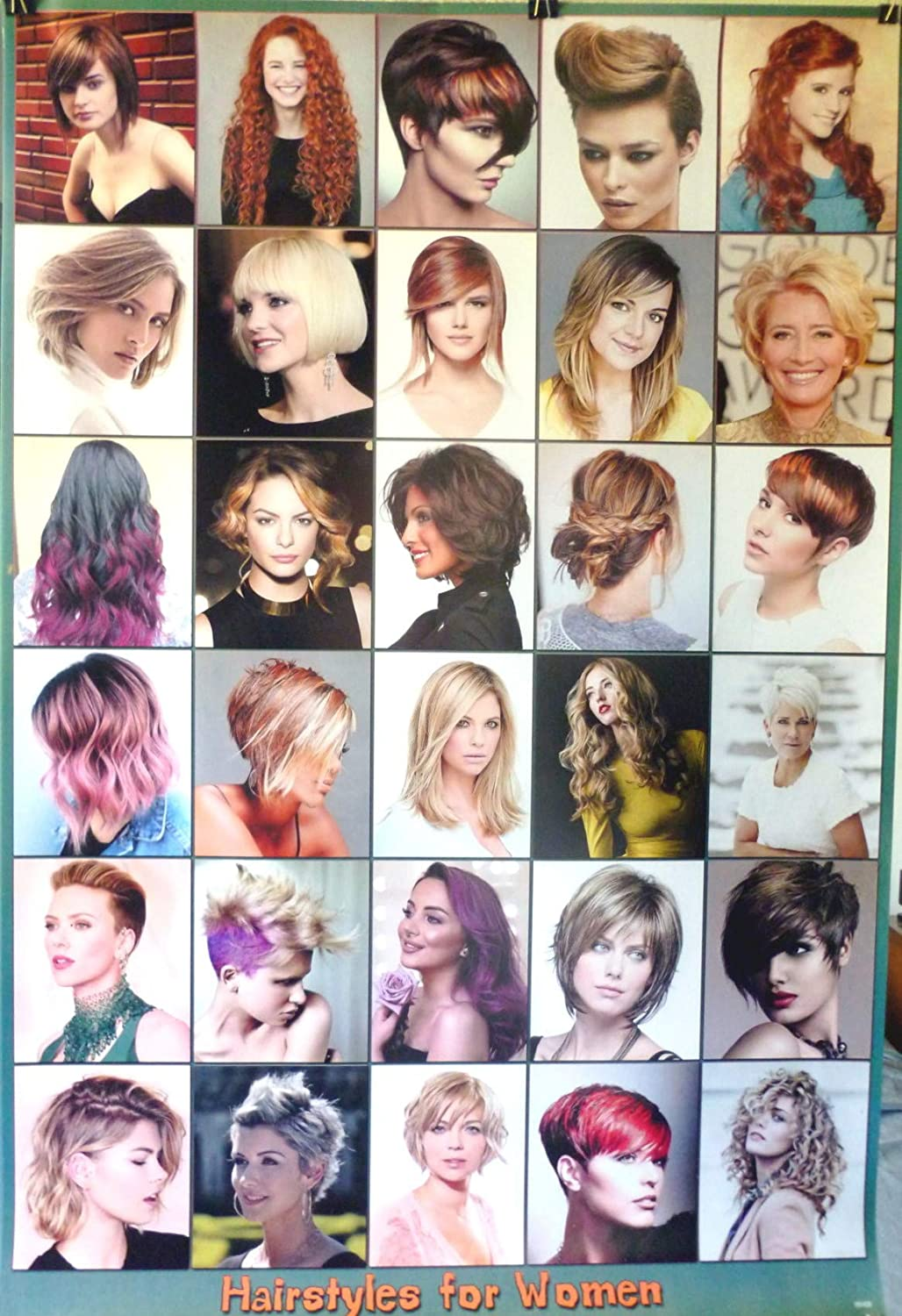 Amazon Com Womens Celebrity Hairstyles Poster D 23 5 X 34 Hair Style Guide Salon Friendly Mugshots Home Kitchen