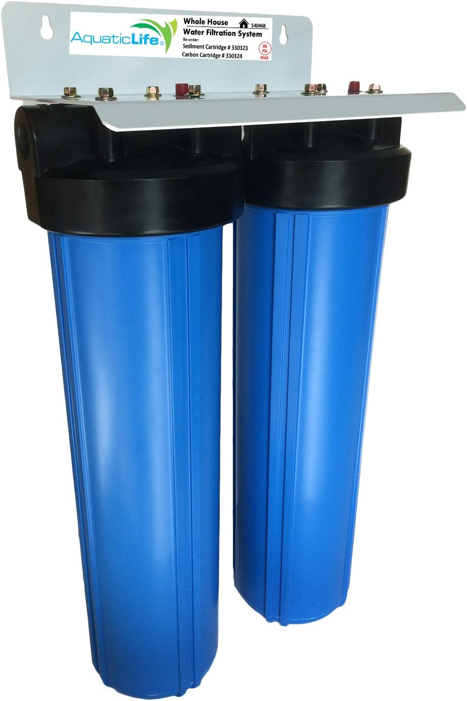 """Aquatic Life Two-Stage 20"""" x 4.5"""" Whole House Water Filtration System, 3/4"""" NPT"""