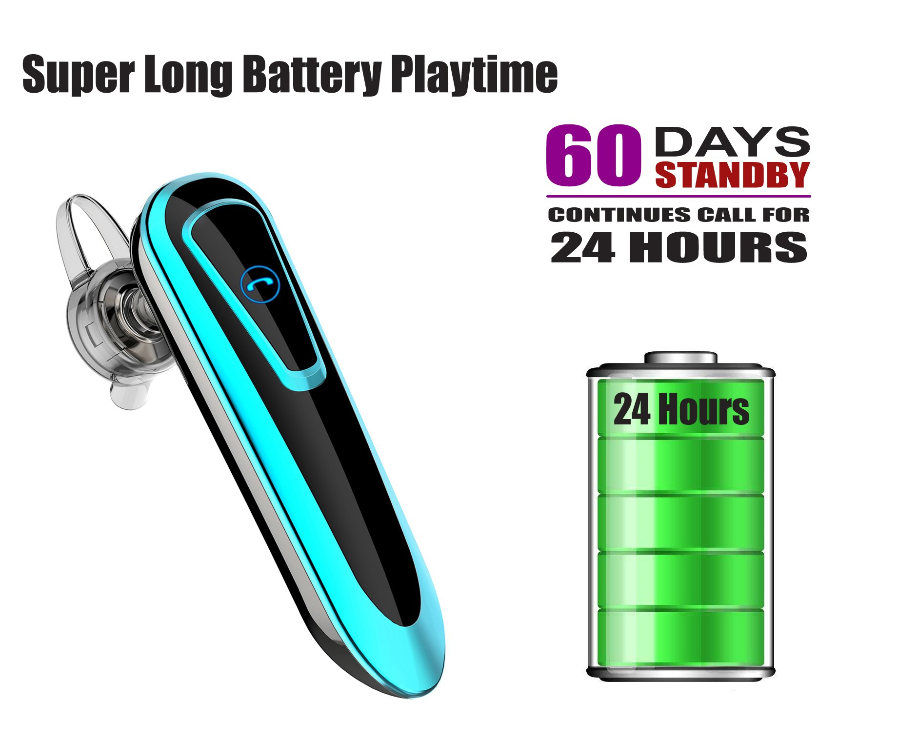 Bluetooth Earpiece Headsets for Safety Drive and Office Business, Car Speakerphone Handsfree, 24hour Long Battery Playtime Earbuds, In Ear Headphones with Microphone Noise Cancelling for Taxi Uber by BilmiX (Image #3)