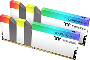 Thermaltake TOUGHRAM RGB White DDR4 3600MHz 16GB (8GB x 2) 16.8 Million Color RGB Alexa/Razer Chroma/5V Motherboard Syncable RGB Memory R022D408GX2-3600C18A