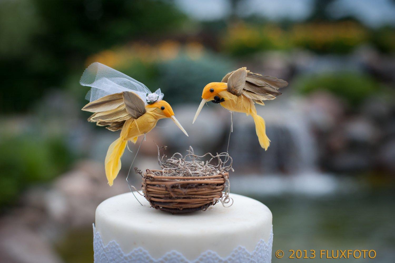 Hummingbird Cake Topper: Humming Bird ''Bride and Groom'' Wedding Cake Topper in Sunshine Yellow
