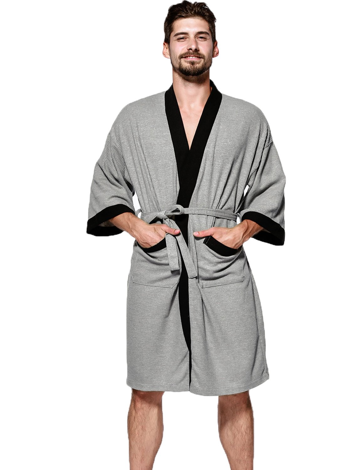 Admireme Men's Waffle Kimono Robe Hotel Spa Robe Cotton Bathrobe Lightweight Nightgowns Sleepwear