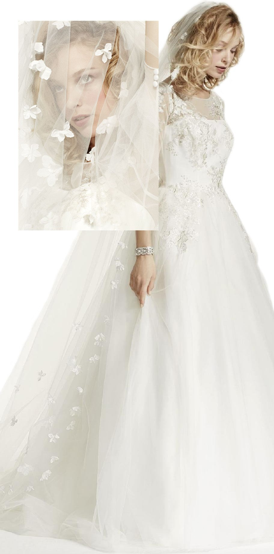 Passat Diamond White Single-Tier 3M Cathedral 3D Scattered Floral Wedding Veil DB90