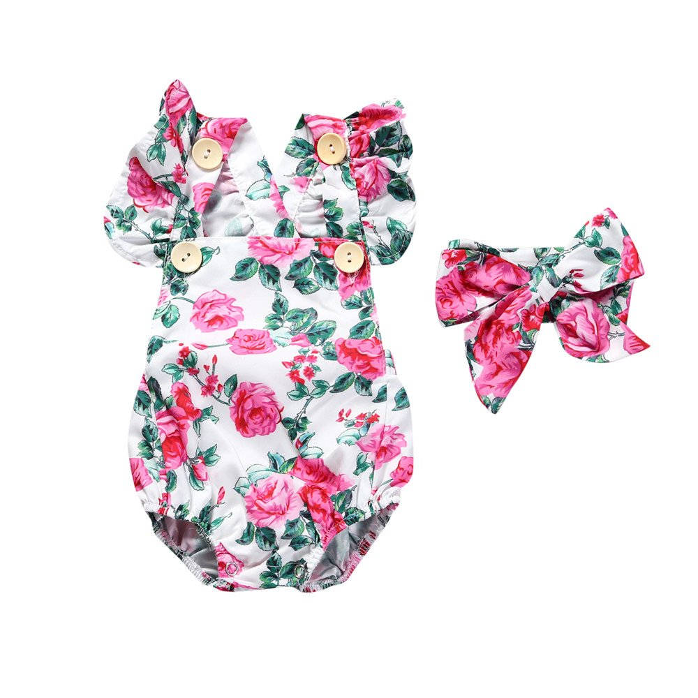 Baby Girl Romper Floral Print Ruffles Outfits Little Fashion Kids Dress Jumpsuit (18-24Months, 05)