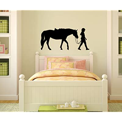 Horse Decal, Girls Bedroom Decor, Teen Room Sticker, Dorm, Western Wall Decor, Pony, Rider,Nursery (13 X 28): Home Improvement
