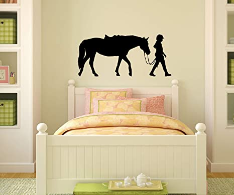 Horse Decal, Girls Bedroom Decor, Teen Room Sticker, Dorm, Western Wall  Decor, Pony, Rider,Nursery (13 X 28)