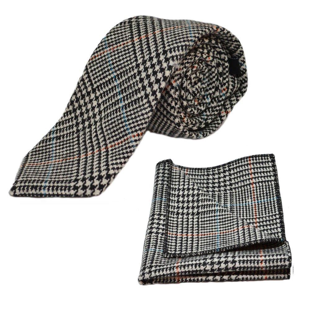 Black /& White Dogtooth Check Tweed Necktie /& Pocket Square Set