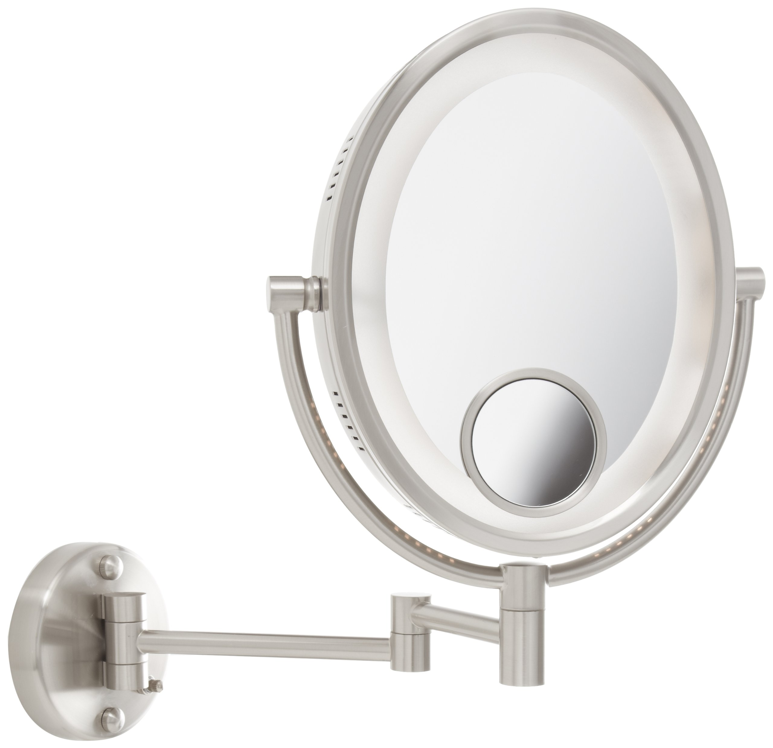 Jerdon HL9515N 8-Inch Lighted Wall Mount Oval Makeup Mirror with 10x and 15x Magnification, Nickel Finish