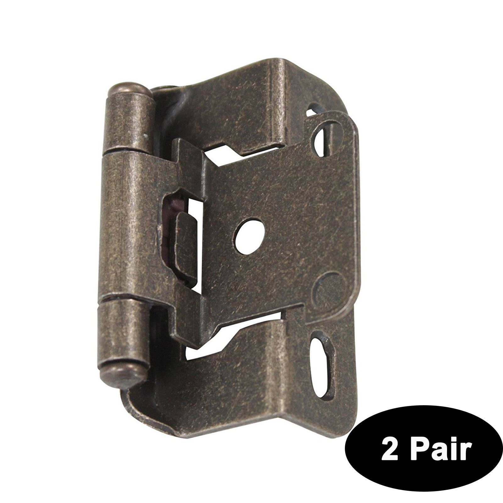 2 Pair (4 Pack) Probrico Cabinet Hinges Antique Bronze Self Close Variable Overlay 1/2 inch Overlay Face Mount Kitchen Cabinet Hinges Furniture Door Hardware