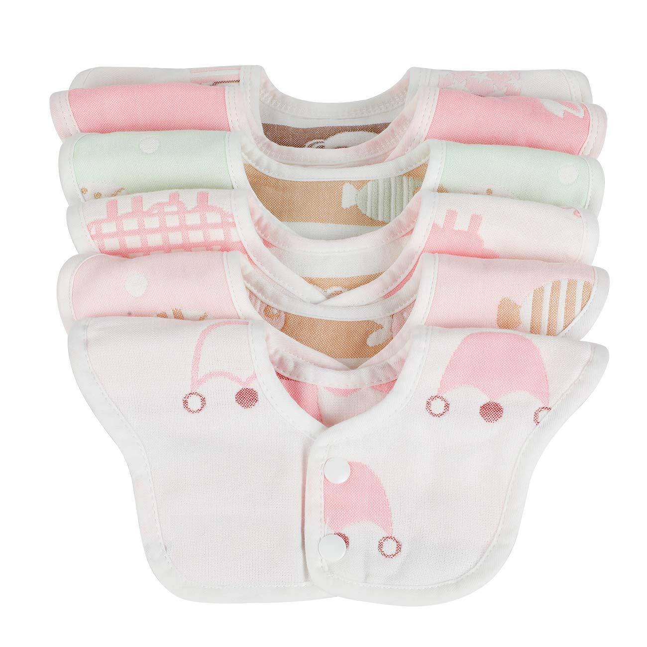 EXTSUD Baby L/ätzchen 360/° DESIGN Geschenken f/ür Baby Jungen Kleinkinder 6er Babyl/ätzchen aus 100/% Baumwolle 6 Schichten zum Essen,Spucktuch saugt Spucke
