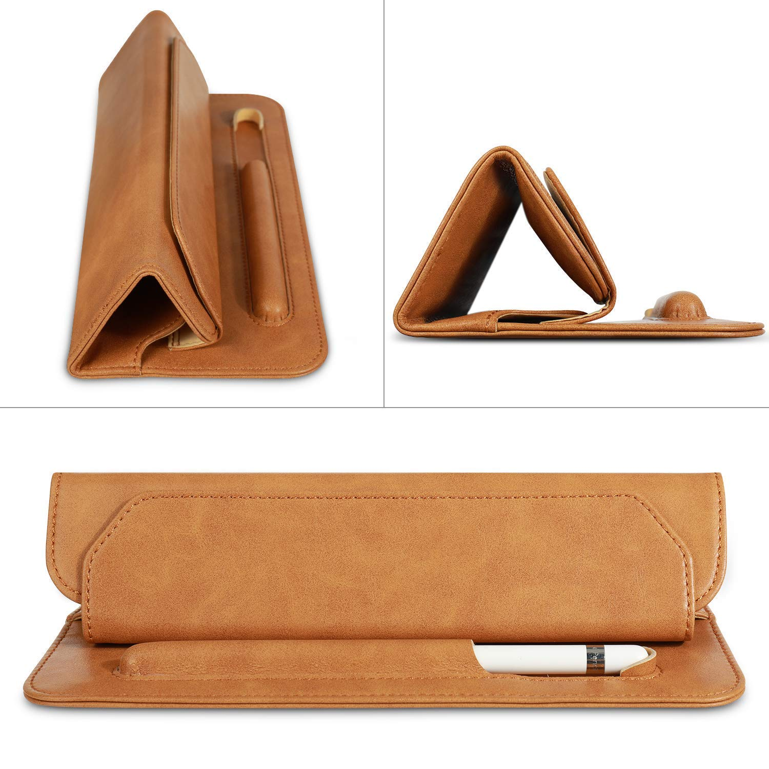 Hcyang iPad Mini 5 Case Leather Soft Microfiber Slim Leather Thin 7.9 inch Tablet Sleeve Bag with Pencil Holder Trifold Case for Apple iPad Mini 5th Generation 2019 Brown