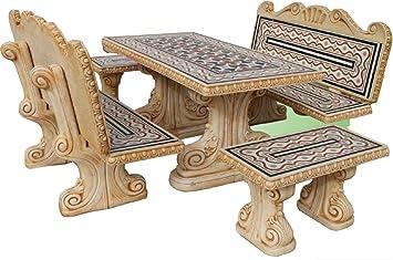 Set di tavolo pranzo rettangolare e panche con schienale per