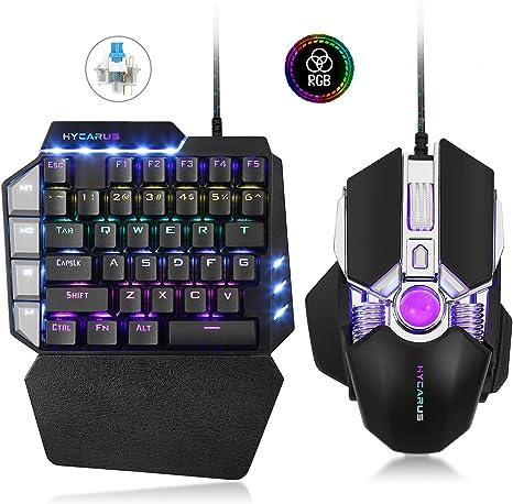 Combo de teclado mecánico para juegos con cable de una mano HYCARUS y mouse para juegos programables con retroiluminación LED RGB.Mini teclado ...