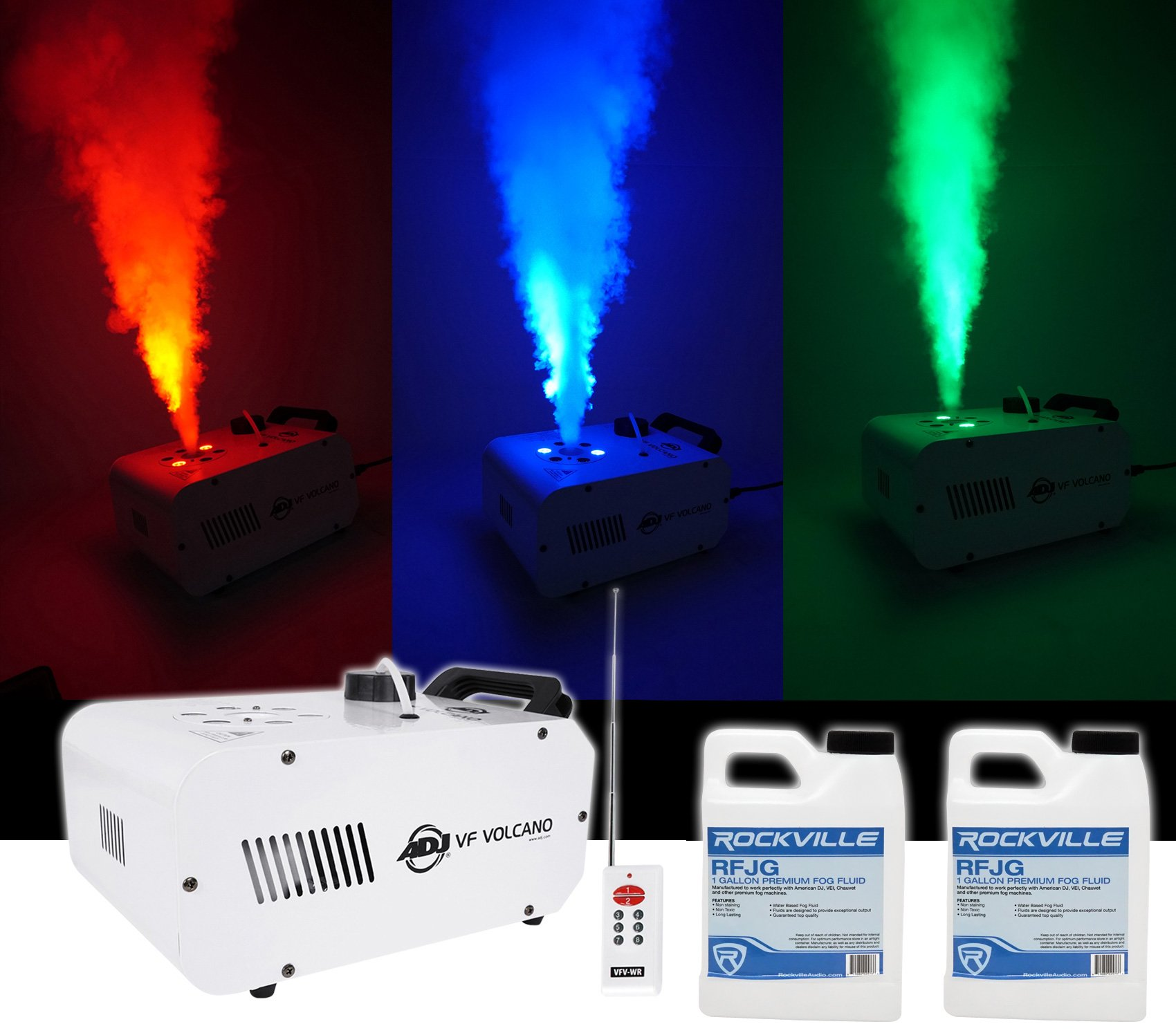 American DJ ADJ Fog Smoke Machine w/ LEDs, Pyro FX, Color Mixing+(2) Gal. Fluid
