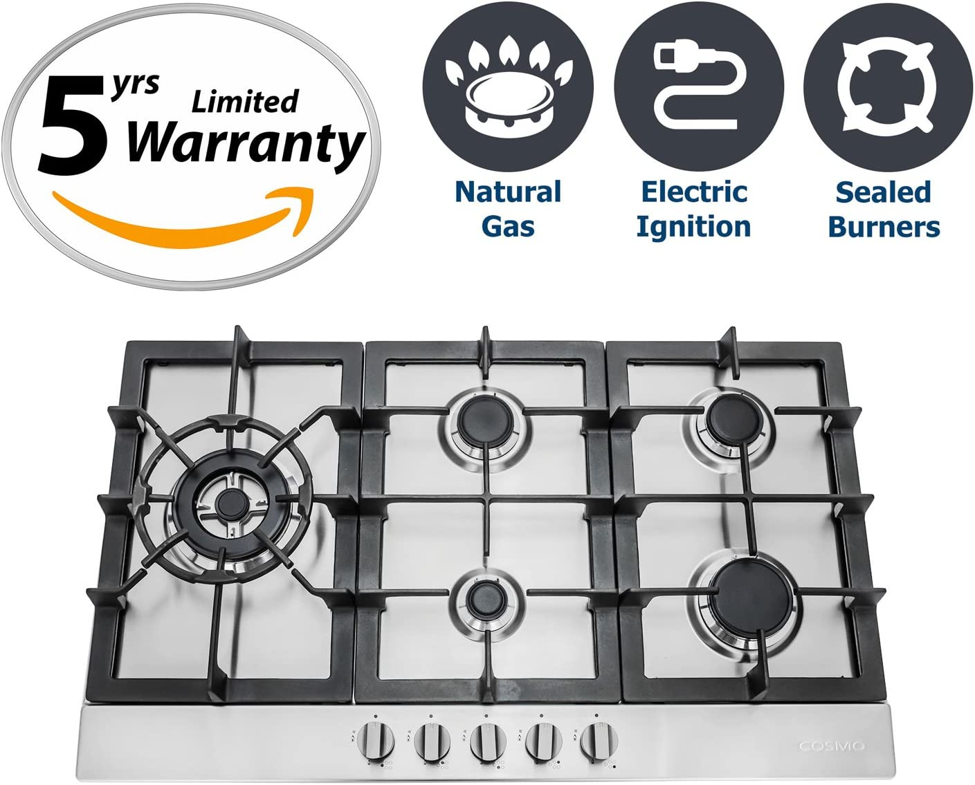 """*NEW* 850SLTX-E 30/"""" GAS COOKTOP STAINLESS STEEL W// 5 BURNERS"""