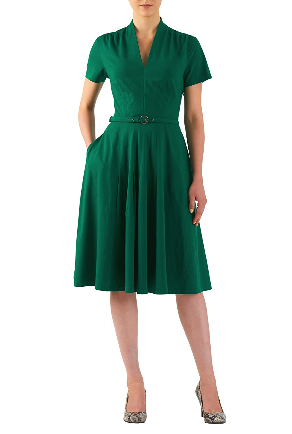 1940s Style Dresses and Clothing eShakti Womens Cotton knit belted dress $56.95 AT vintagedancer.com