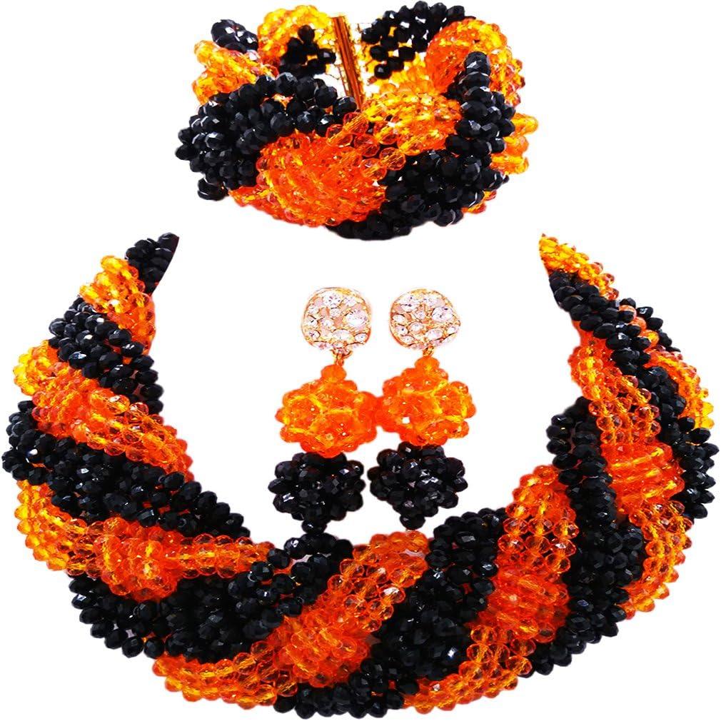 laanc Fashion collar pulsera pendientes Royal azul y naranja Perlas de africano juego de fiesta joyas de boda