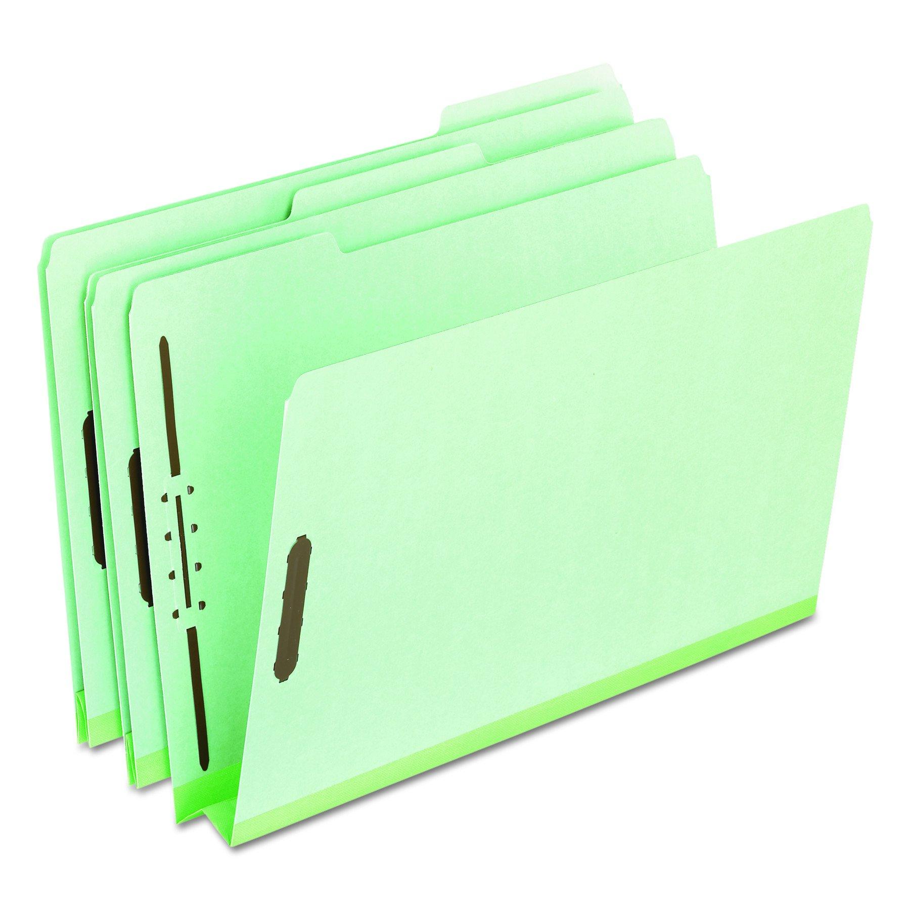 Pendaflex 17186 Pressboard Folders, 2 Fasteners, 2'' Expansion, 1/3 Tab, Legal, Green (Box of 25)