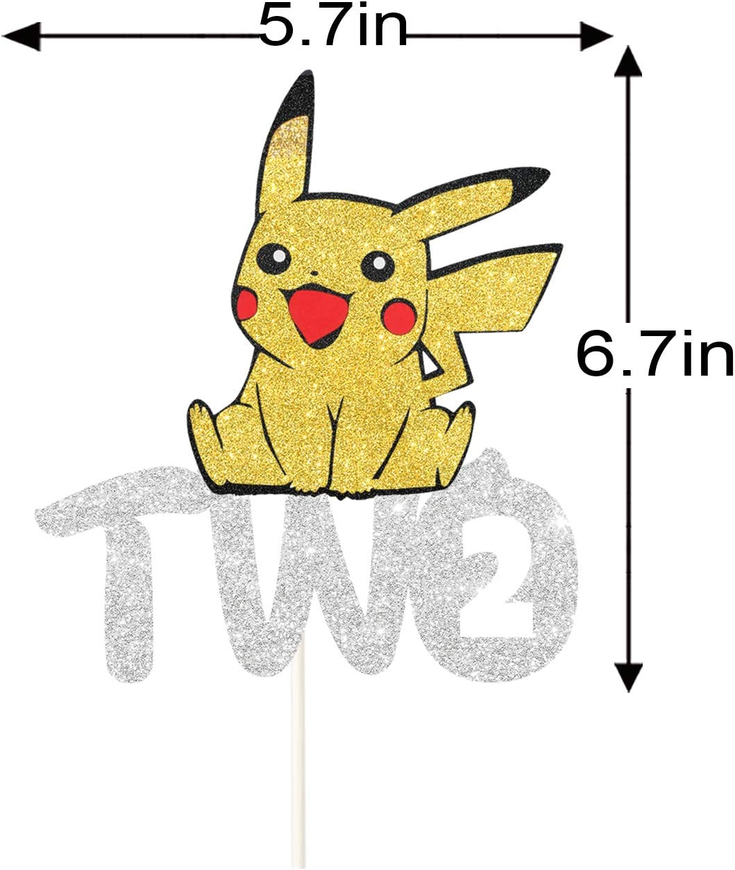 Kid/'s 2nd Birthday Cake Decor Second Anniversary Party Decoration Supplies Trainers Theme Two Years Old Birthday Pikachu Two Cake Topper
