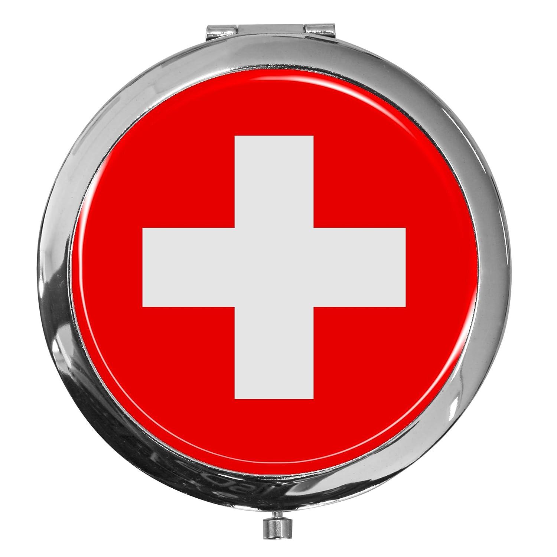 metALUm Premium - Taschen - Spiegel aus verchromten MetallFlagge Schweiz mit edler, hochglänzender Kunstharzbeschichtung - tolles Geschenk für Schweiz - Fans