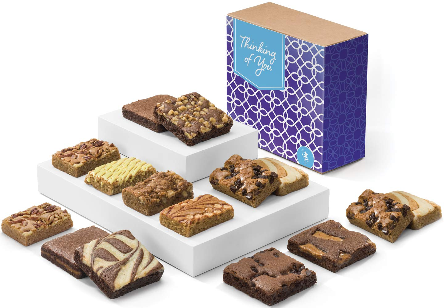 Fairytale Brownies Thinking of You Bar & Brownie Combo Gourmet Chocolate Food Gift Basket - 3 Inch Square Full-Size Brownies and 3 Inch x 2 Inch Blondie Bars - 15 Pieces - Item CT381 by Fairytale Brownies