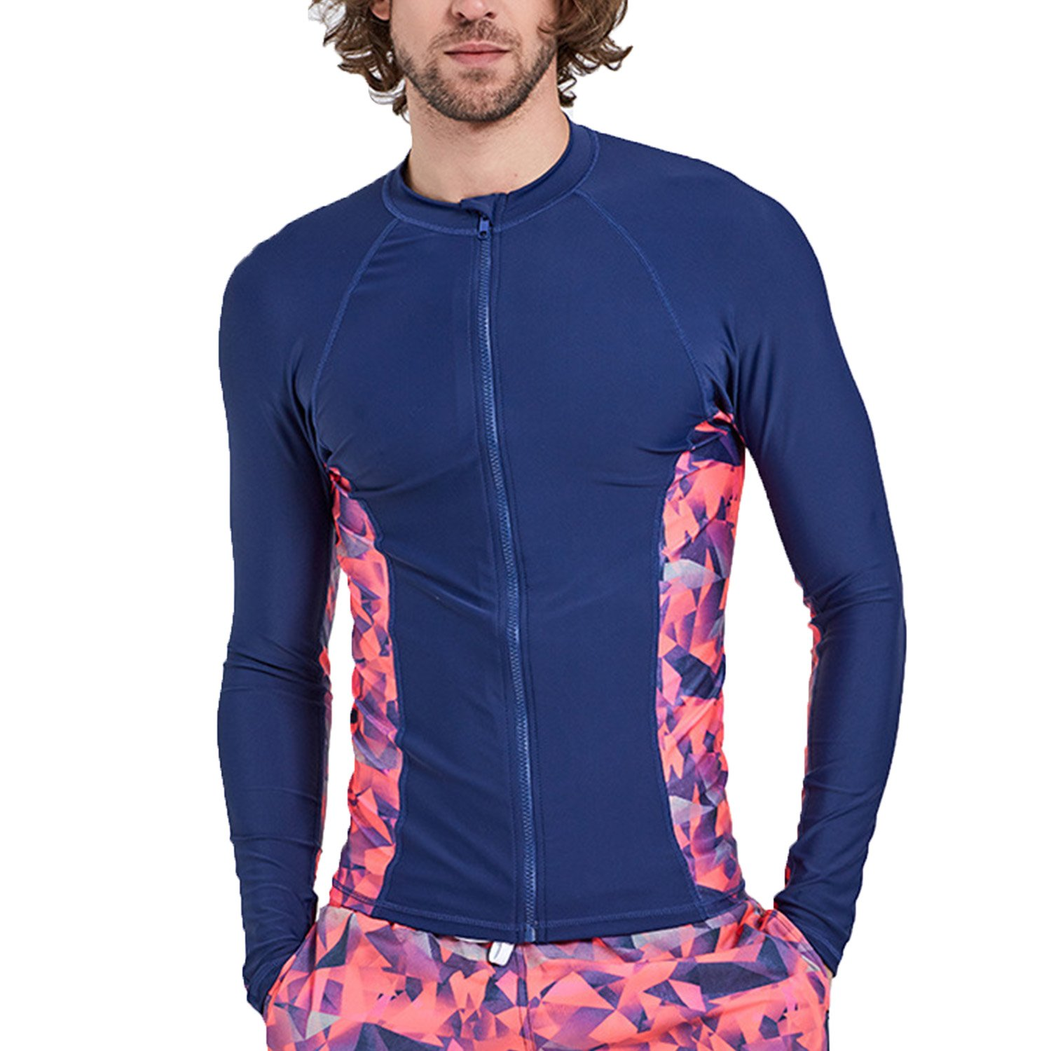 Mens Long Sleeve Rash Guard UV Sun Protection Printed Zipper Surfing One Piece Swimsuit Bathing Suit Running Jacket Pink-7004 US S/Asian L