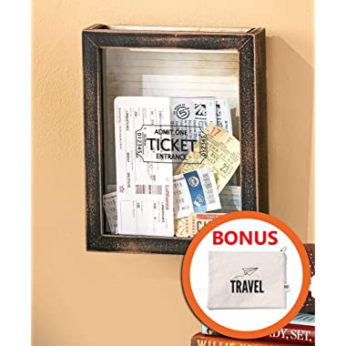 HM Homes Ticket Shadow Box with Slot - Top Loading Shadow Box - Memento Frame for Concert Movie Theater & Sporting Event Ticket Stubs