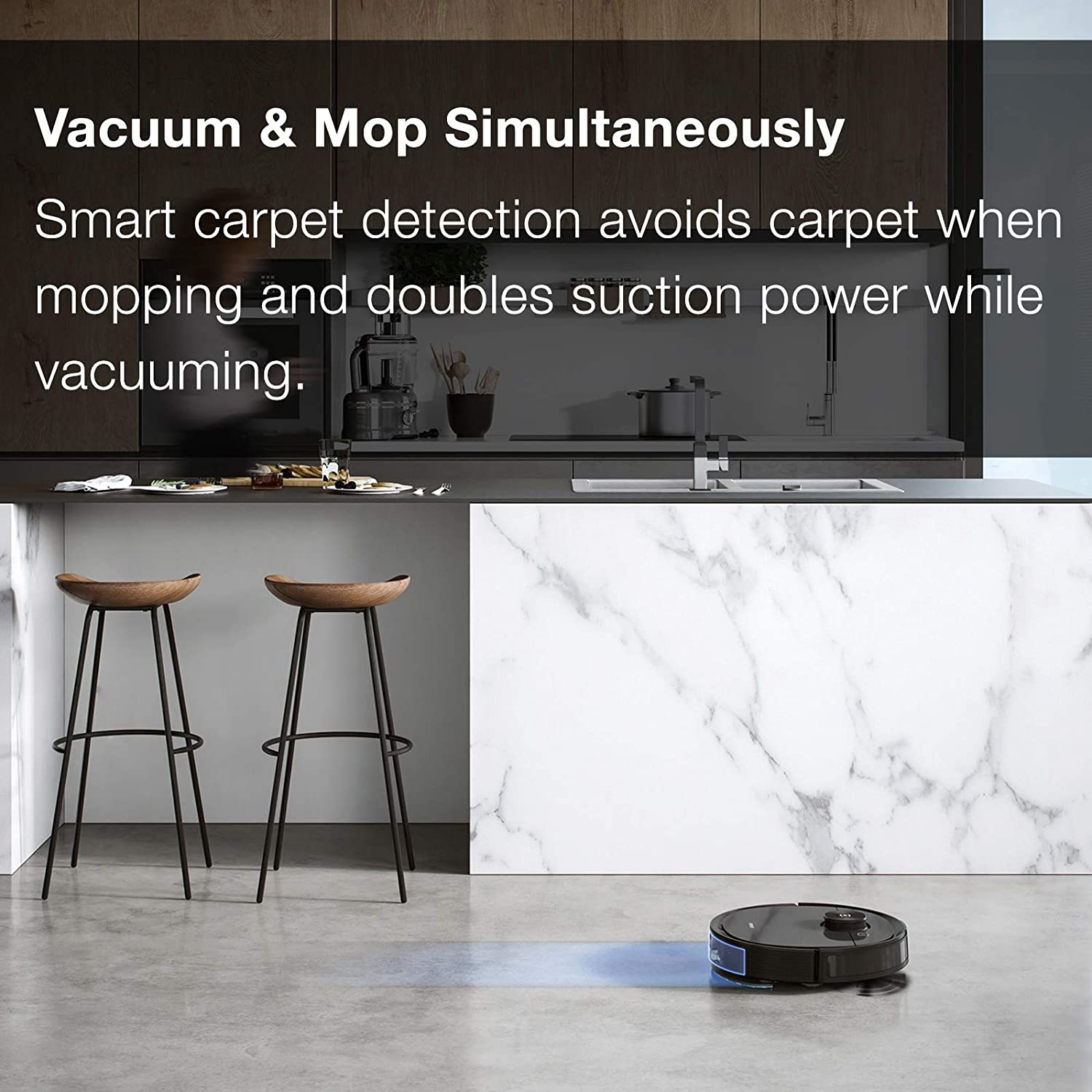 3+ Hours of Runtime Ecovacs Deebot Ozmo T8 AIVI Robot Vacuum Cleaner /& Mop with Auto-Empty Station Advanced Laser Mapping High Efficiency Filter Ideal for Pet Hair Smart Objection Recognition