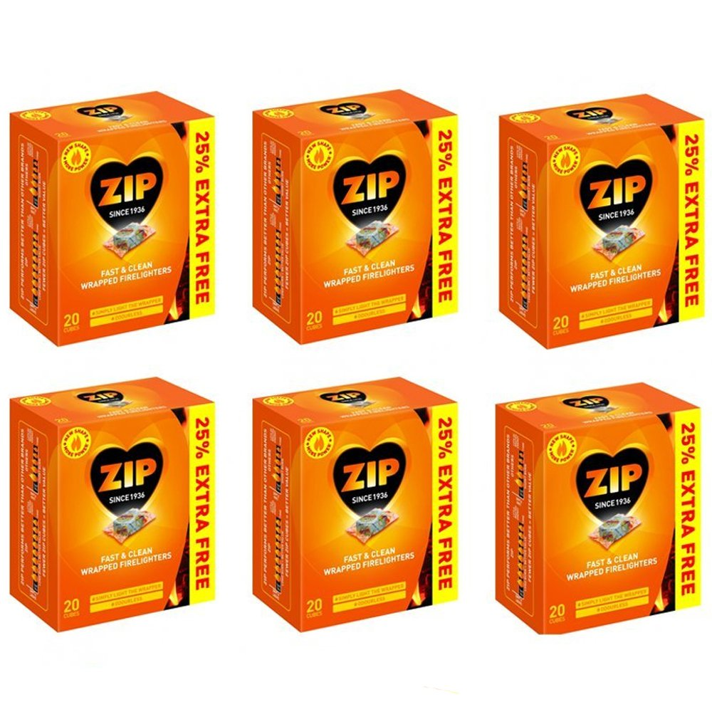 240 Pcs Zip Fast & Clean Wrapped Firelighters No mess, no smell, just light the wrapper (Pack of 12)