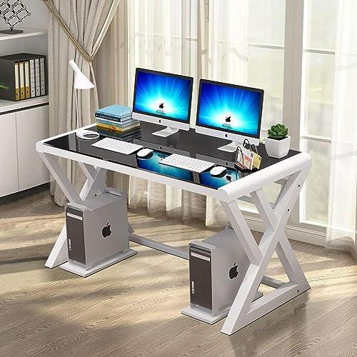 IPKIG Computer Desk Metal Frame and Glass Top
