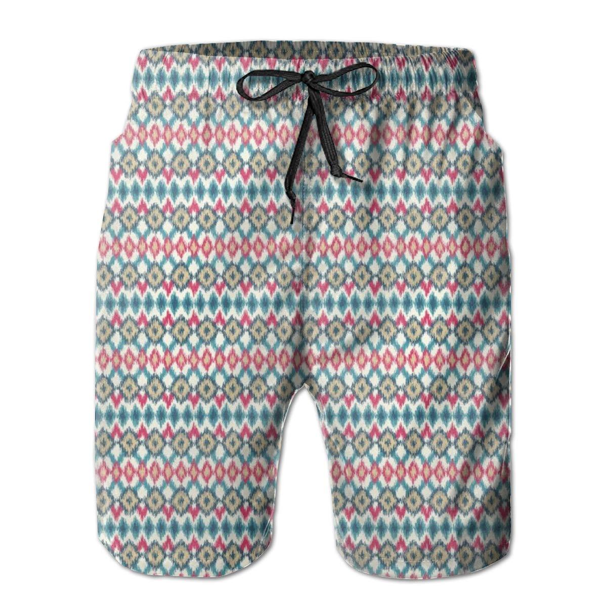lsrIYzy Men Swim Trunks Beach Shorts,Authentic Mandala Inspired Composition Man Posture Asana Meditation Print